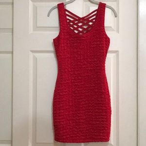 Red Ribbed & Strappy Mini Dress